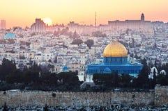 Jeruzalem en de Grote Moskee - panorama in Israël Stock Afbeelding