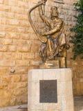 JERUZALEM, ISRAËL - Juli 13, 2015: Het beeldhouwwerk van KoningsDavid Royalty-vrije Stock Foto's