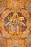 Jeruzalem - Jesus Pantokrator en de apostel Verf op het plafond van Evangelische Lutheran Kerk van Beklimming royalty-vrije stock fotografie