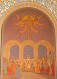 Jeruzalem - oordeel van Jesus vóór sanhedrin Mozaïek in Kerk van St Peter in Gallicantu stock foto