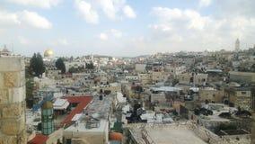 Jeruzalem van stadsmuur die wordt gezien stock afbeelding