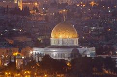 Jeruzalem - Vooruitzichten van Onderstel van Olijven aan Koepel van Rots Stock Foto