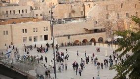 Jeruzalem, westelijke muur en koepel van de rots, de vlag van Israël, algemeen plan, timelapse stock footage