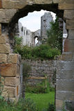 Jervaulx Abbey ruins framed in an arch Stock Images