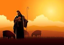 Jesús como pastor stock de ilustración