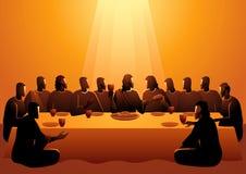 Jesús compartió con sus apóstoles stock de ilustración