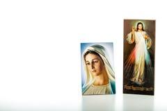 Jesús compasivo y nuestra señora de Medjugorje que la Virgen bendecida estropea fotografía de archivo