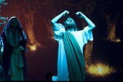 Jesús en el jardín de aceitunas antes de su martirio Fotos de archivo