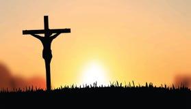 Jesús en el vector cruzado Fotografía de archivo libre de regalías