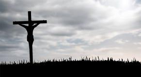 Jesús en el vector cruzado Imágenes de archivo libres de regalías