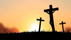 Jesús en el vector cruzado Imagen de archivo libre de regalías