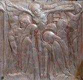 Jesús en la cruz, altar del corazón sagrado de Jesús en la iglesia del santo Blaise en Zagreb fotografía de archivo libre de regalías