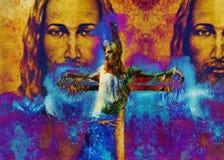 Jesús en la cruz, interpretación del avanrgard con el stylization gráfico Efecto del invierno Fotografía de archivo libre de regalías