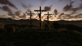 Jesús en la cruz, prado con las aceitunas, noche del timelapse al enfoque del día hacia fuera, cantidad común