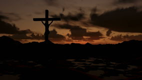 Jesús en la cruz, salida del sol del timelapse almacen de video