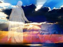 Jesús en los haces de la creación de luz Imagen de archivo