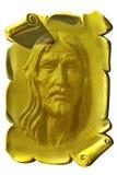 Jesús en una placa de oro stock de ilustración