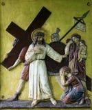 Jesús encuentra a las hijas de Jerusalén, 8vas estaciones de la cruz Imagen de archivo libre de regalías