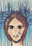 Jesús llora sobre Jerusalén Arte contemporáneo stock de ilustración