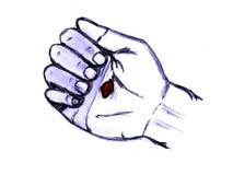 Jesús perforó la mano (la palma) Imagen de archivo libre de regalías