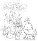 Jesús que lee la biblia a los niños y a los animales Página que colorea Fotos de archivo