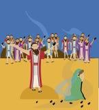 Jesús y mujer adúltera ilustración del vector