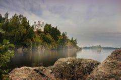 Jesień Parkowy Monrepo w Vyborg, Leningrad region, Rosja zdjęcie stock