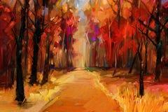 Jesień, sezon jesienny natury tło Ręka Malujący impresjonista, plenerowy krajobraz royalty ilustracja