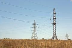 Jesień, żółta sucha trawa i linie energetyczne, zdjęcia royalty free