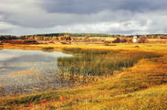 Jesień barwiący dolinny krajobraz jesieni krajobraz w roczniku tonuje Obraz Royalty Free