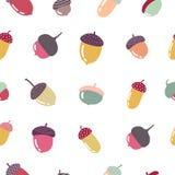 Jesień bezszwowy wzór z kolorowymi acorns royalty ilustracja