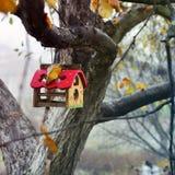 jesień birdhouse opuszczać drzewa gałązek kolor żółty zdjęcia stock