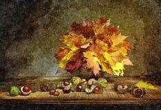Jesień bukiet liście klonowi wieśniak nadal życia Malować mokrą akwarelę na papierze Naiwna sztuka Rysunkowa akwarela o ilustracji