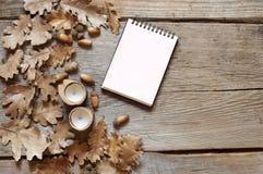 Jesień dąb opuszcza na starym drewnianym tle i notepad fotografia royalty free