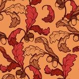 Jesień dębu acorns i liści bezszwowy wzór Fotografia Royalty Free