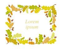 Jesień dębu ramy tło - wektorowa ilustracja royalty ilustracja