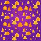 Jesień drzewny bezszwowy wzór Spadku tematu tło w mieszkanie stylu również zwrócić corel ilustracji wektora Zdjęcie Stock