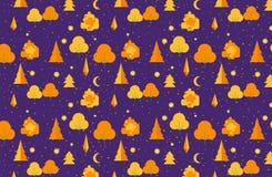 Jesień drzewny bezszwowy wzór Spadku tematu tło w mieszkanie stylu również zwrócić corel ilustracji wektora Fotografia Royalty Free