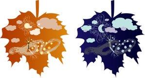jesień dzień noc royalty ilustracja