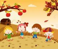 Jesień dzieciaki ilustracji