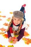 jesień dziewczyny kapelusz opuszczać szalika Fotografia Royalty Free