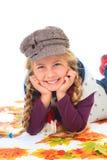 jesień dziewczyny kapelusz opuszczać szalika Zdjęcie Stock