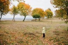 jesień dziewczyny trochę park pathway fotografia stock