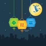 Jesień festiwalu ilustracja bogini, królik, lampion & księżyc w pełni Chang ` e księżyc, Podpis: Jesień festiwal Fotografia Royalty Free