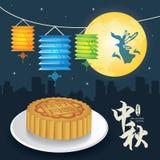 Jesień festiwalu ilustracja Chang ` e księżyc bogini Zdjęcia Royalty Free