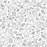 Jesień i deszcz Bezszwowy wzór w doodle i kreskówki stylu ilustracja wektor