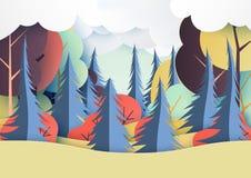 Jesień i kolorowa lasowa natura krajobrazu papieru sztuka projektujemy ilustracja wektor