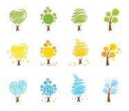 jesień ikony ustalona lato drzew zima ilustracji