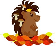 Jesień jeż z pieczarkami ilustracja wektor