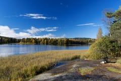 Jesień jeziora przy Norwegia ławką na wybrzeżu Zdjęcie Royalty Free